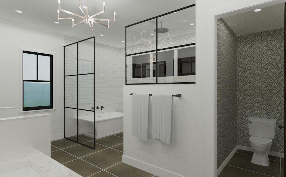 Second view of winning bathroom design featuring stand alone tub