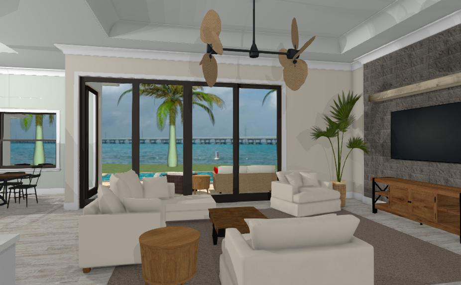 Florida home render with view of the beach and white furniture
