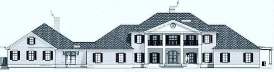 Elevation view of a Colonial Design with four pillars, second floor covered porch and blue shutters