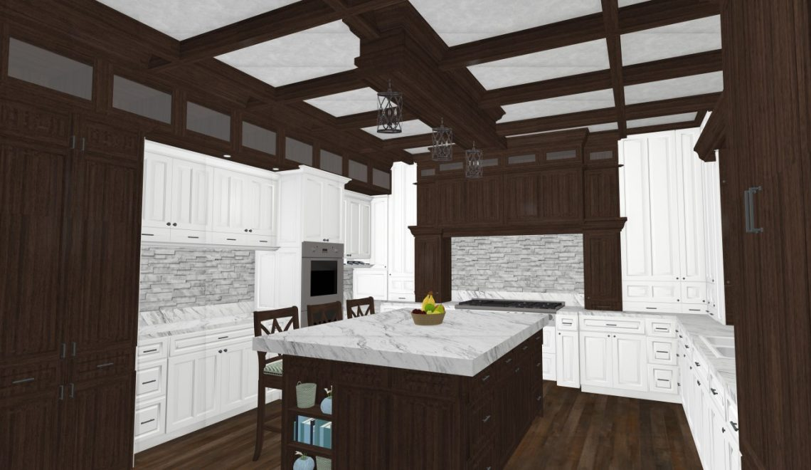 My design is a traditional kitchen with marble countertops and walnut cabinets.