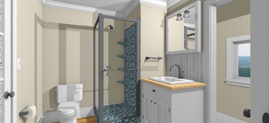Small bathroom design with glass shower, vanity and toilet.