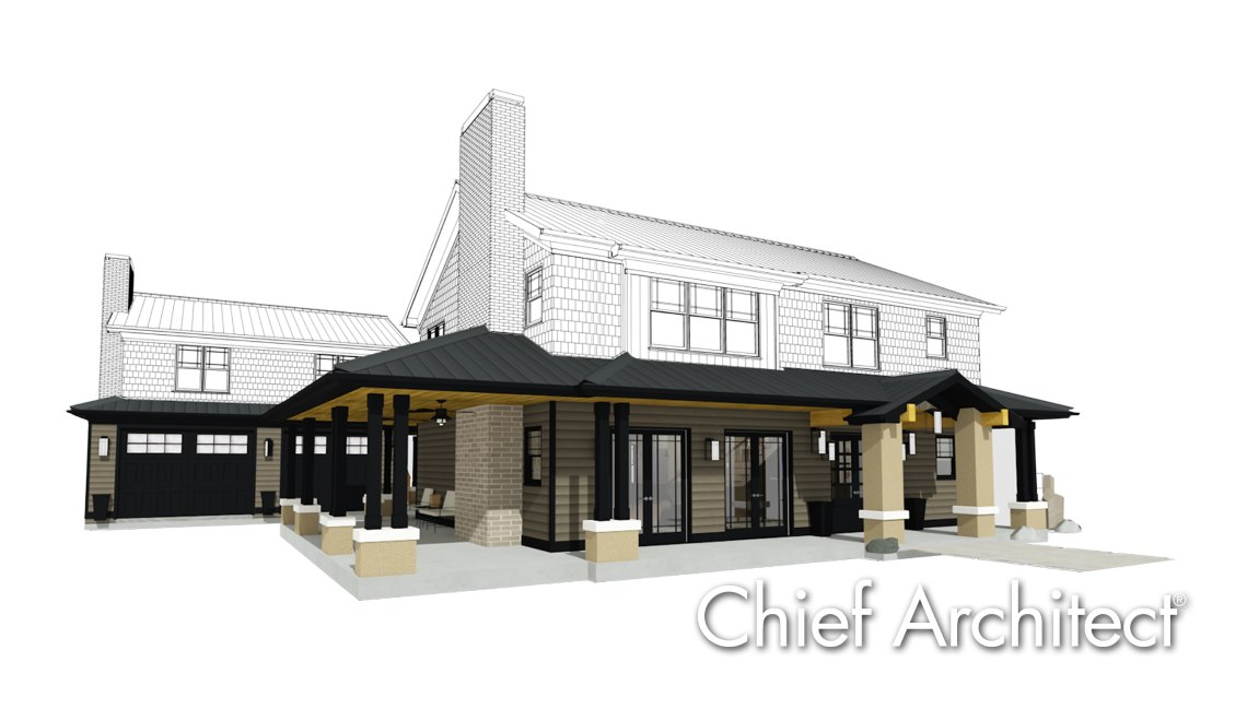 3D model of a modern bungalow remodel design.