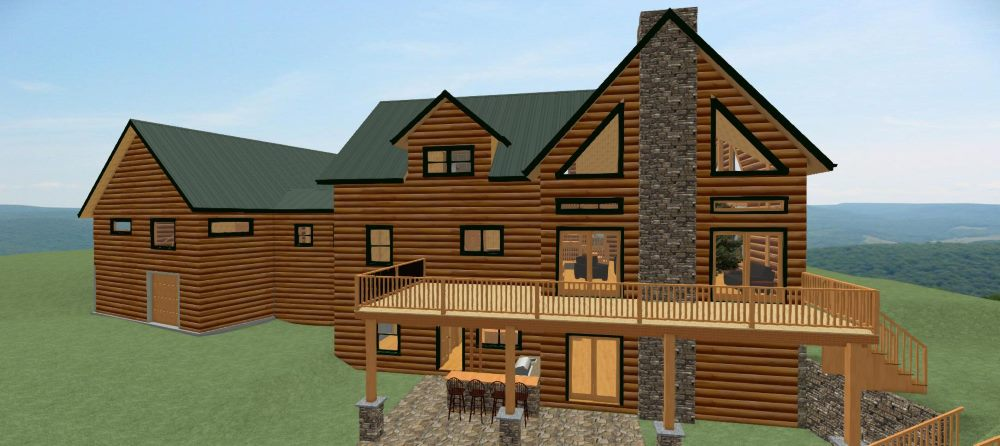 Two story log home design with large deck and outdoor living.