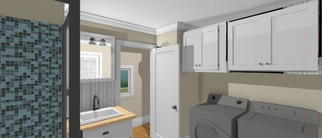Proposed combined bathroom and laundry room design.