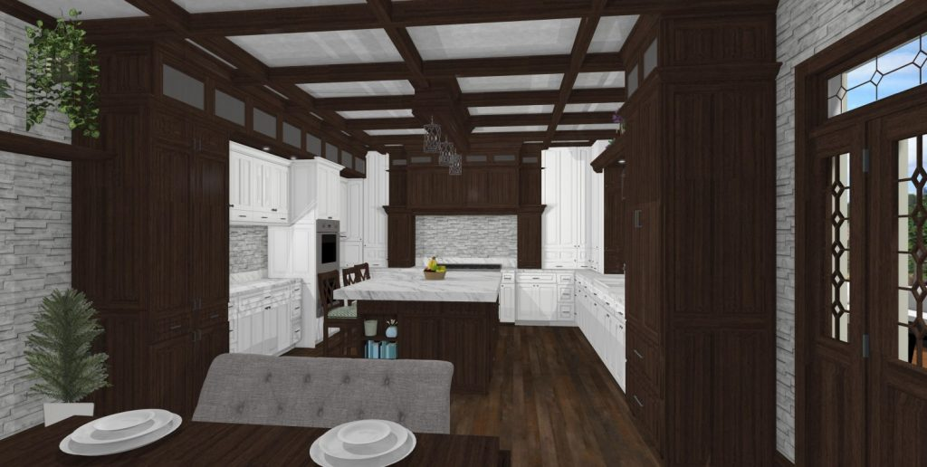 Kitchen featuring walnut cabinets and coffered ceiling