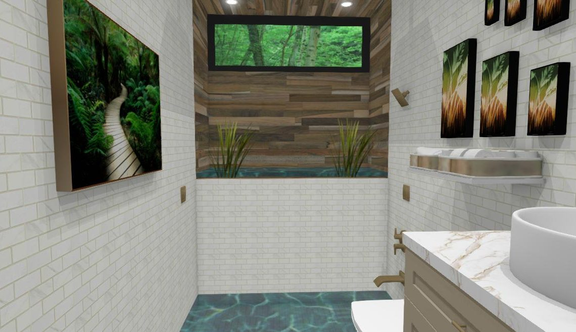 Small, rectangular bathroom with a waterfall shower and sunken tub.