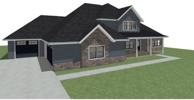 Residential design with multi-car garage and stone accents.