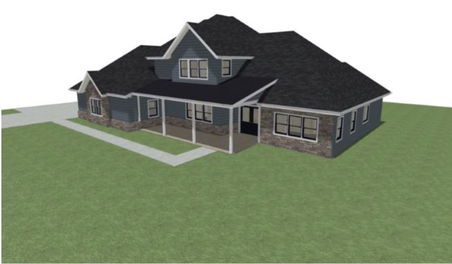 Residential design with a large front porch and dormer.