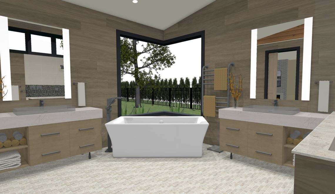 Modern master bathroom with dual vanities, a soaking tub and spa like feel.