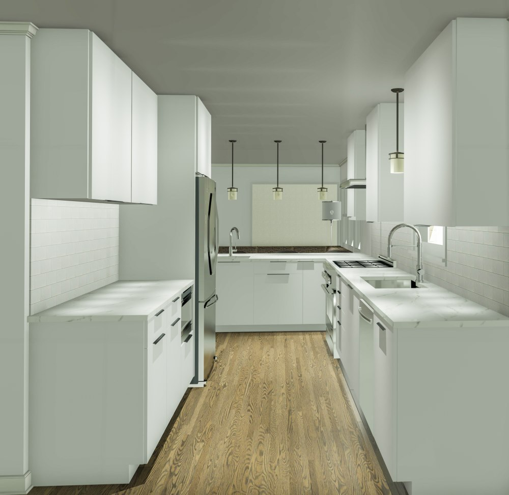 Rendering of a kitchen remodel with white cabinets, a new eat at bar and opening up the space to the living room.