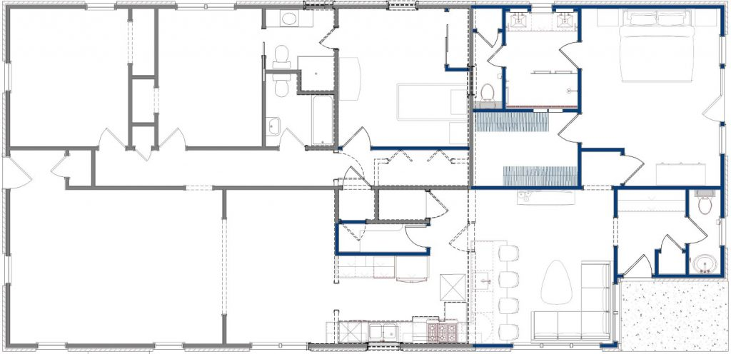 Floor plan showing the demolition walls and remodeling details.
