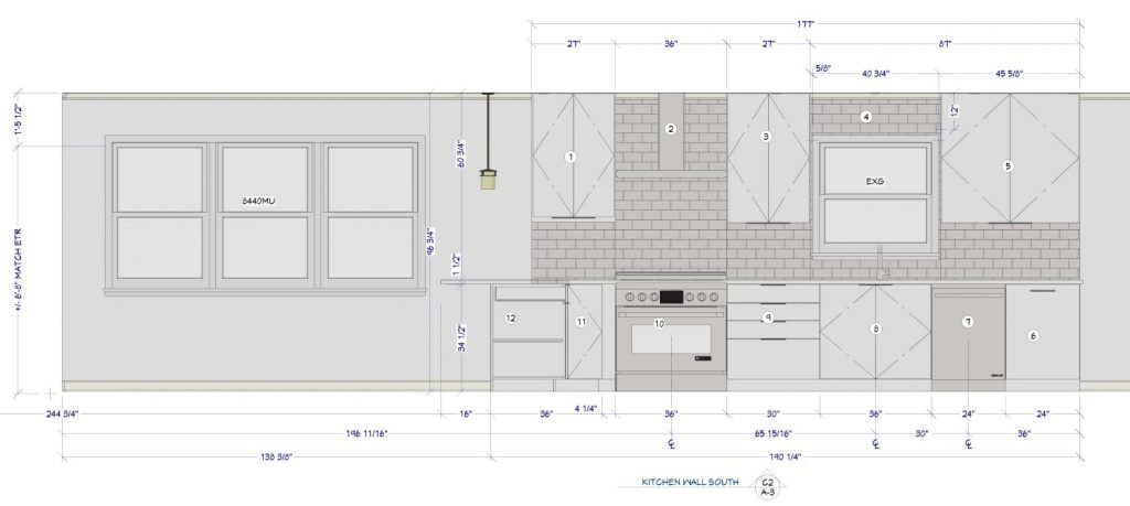 Kitchen elevation view with dimensions