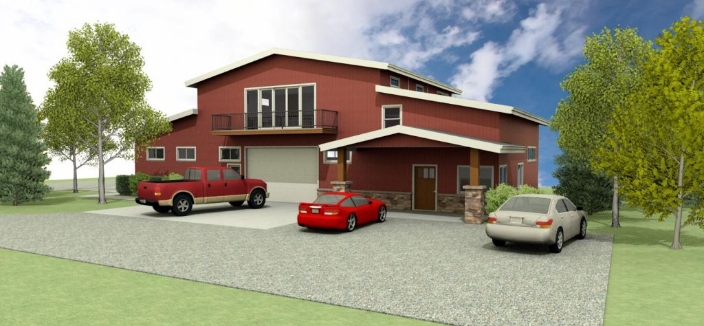 Pole barn design with red metal siding, stacked stone accents, and a second story balcony.