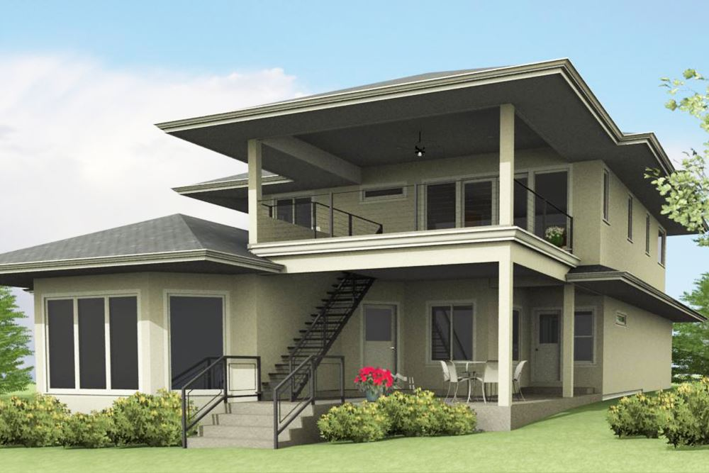 Two story home design with large outdoor living areas on the first and second story.