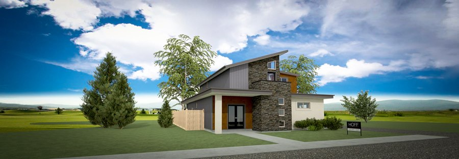 Modern home design with metal and stone siding.