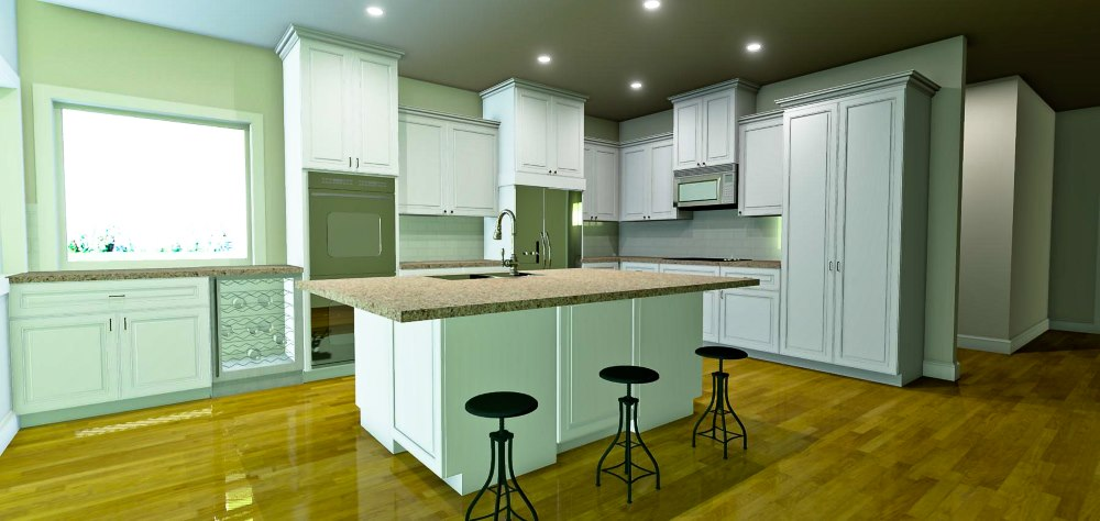 Open kitchen design with large eat at island, wine refrigerator, and double ovens.