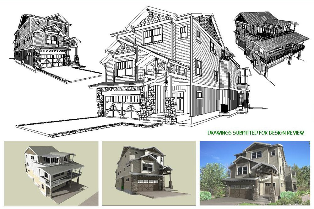 Multiple renderings of a three story home design submitted for review.