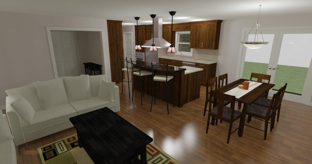 Kitchen design with large eat at island that opens to the dining and living room.