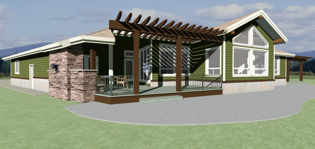 Home design with a large outdoor living area covered by a pergola.