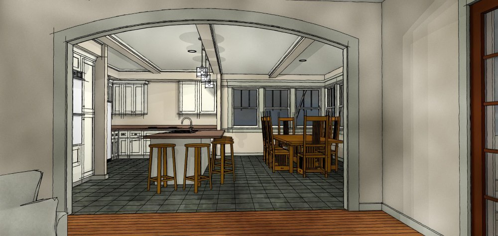 Artistic rendering of a kitchen design that includes an eat at island, exposed beams, double oven and dining table.