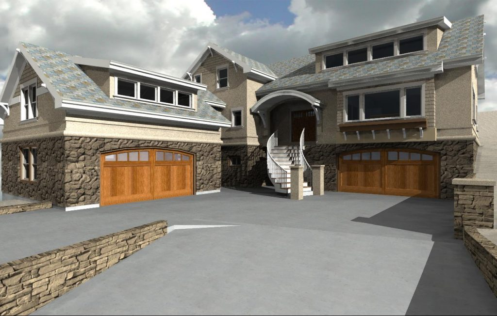 Home design with four car garage, shed dormers, and curved roof entry.