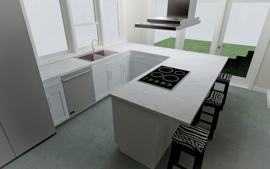 U-shaped kitchen with an eat at peninsula and access to the backyard.