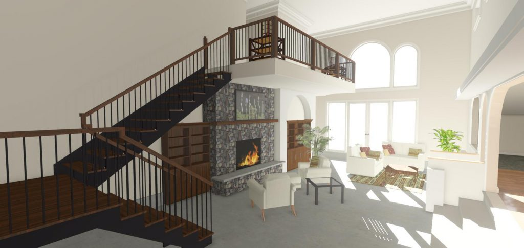 Two story tall living room with a fireplace, build in cabinets, and loft area.