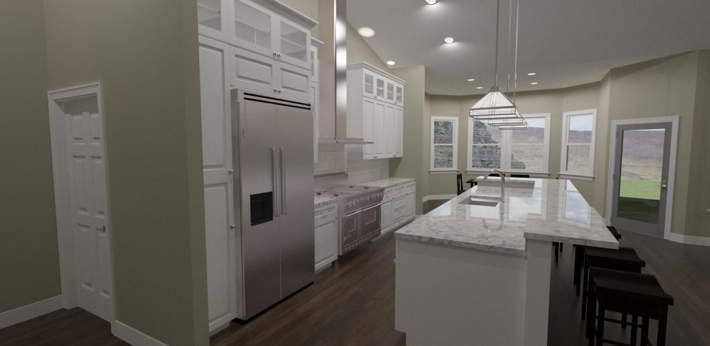 Kitchen design with an eat at island, gas range, white cabinets and breakfast nook.