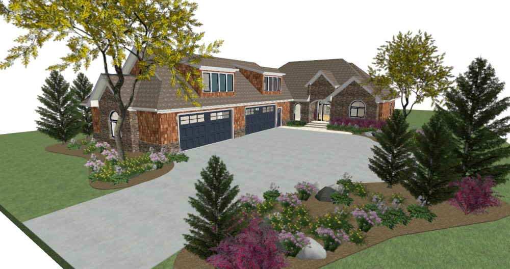 Home design with a four car garage, shed dormers, shingle and stacked stone siding.