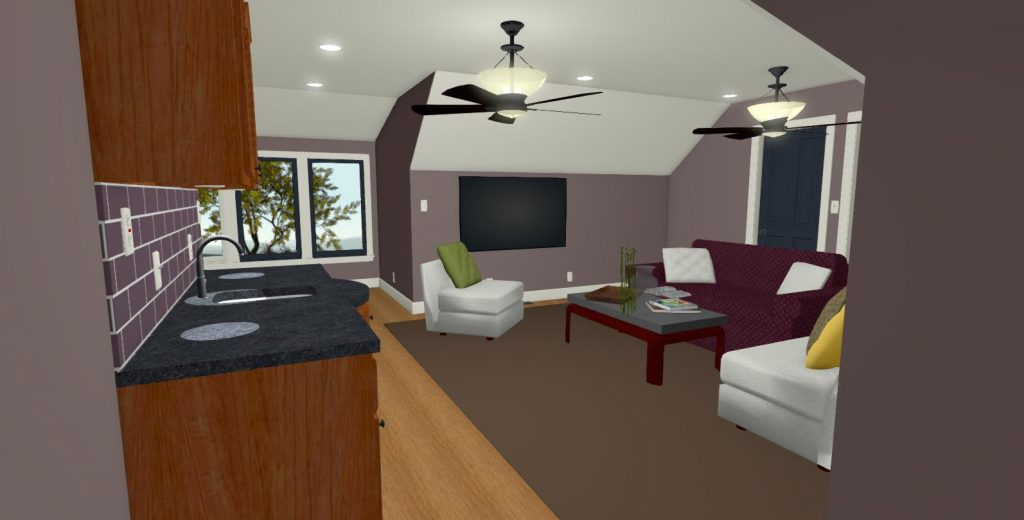 Family room with a bar area.