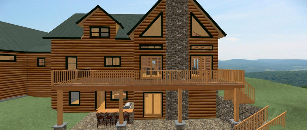 Log home rendering with walk out basement and large deck.