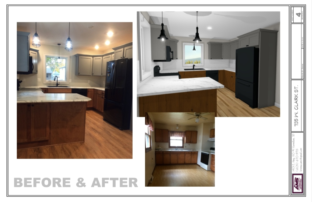 Kitchen remodel with gray cabinets, an l-shpaed counter top and hardwood floors.