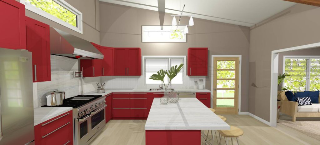 Open kitchen design with high ceilings, an eat at island, and red custom cabinets.