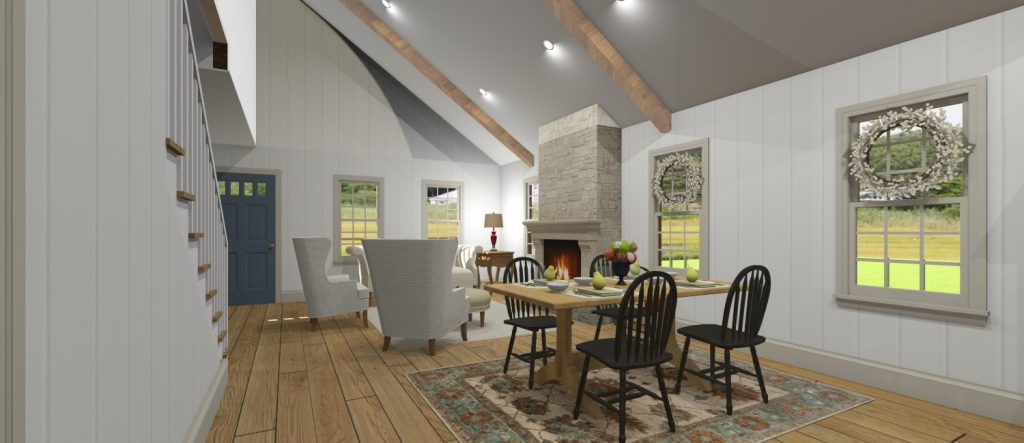 Colonial living room and dining room with vaulted ceilings, exposed beams, and wood fireplace.