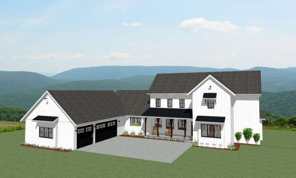 Two-story farmhouse with white siding, black trim and a two-car garage.