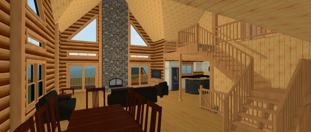 Log home interiors showcasing high ceilings, loft, and stone fireplace.