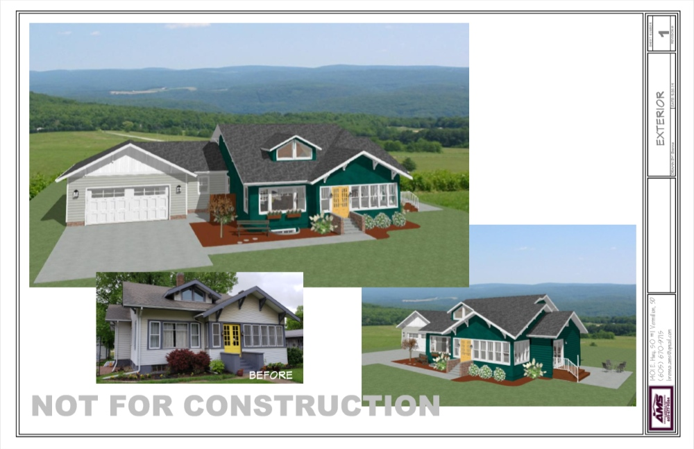 Craftsman-style bungalow remodel with green siding and a yellow front door.