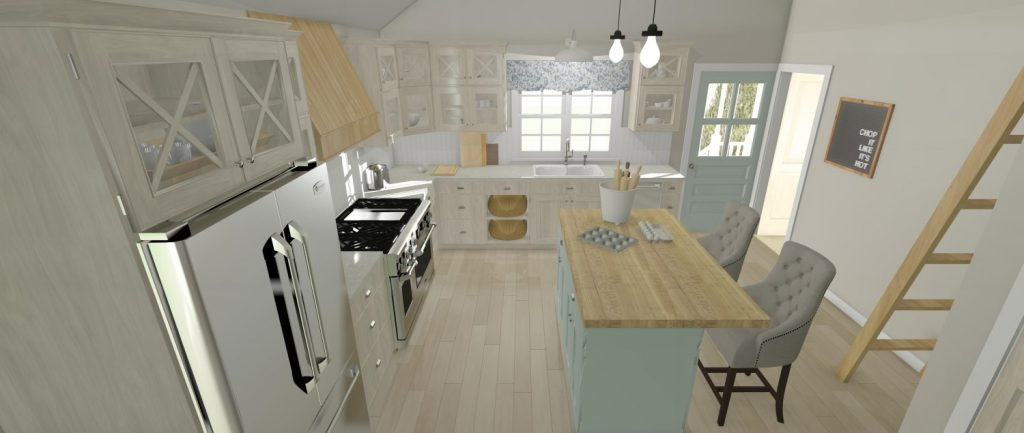 Cottage kitchen with vaulted ceilings, eat at island, and custom cabinets.