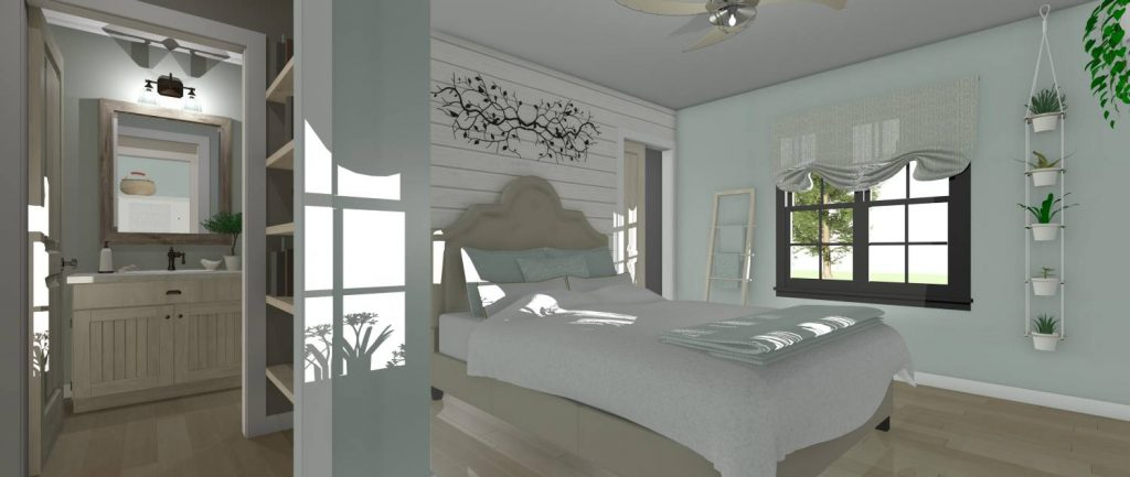 Master bedroom with attached master bathroom.