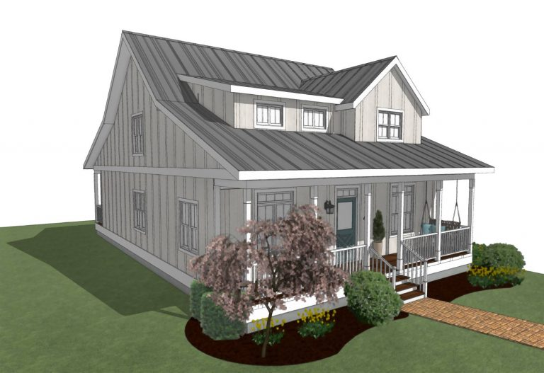 Farmhouse with front porch, dormers, and gullwing roof.