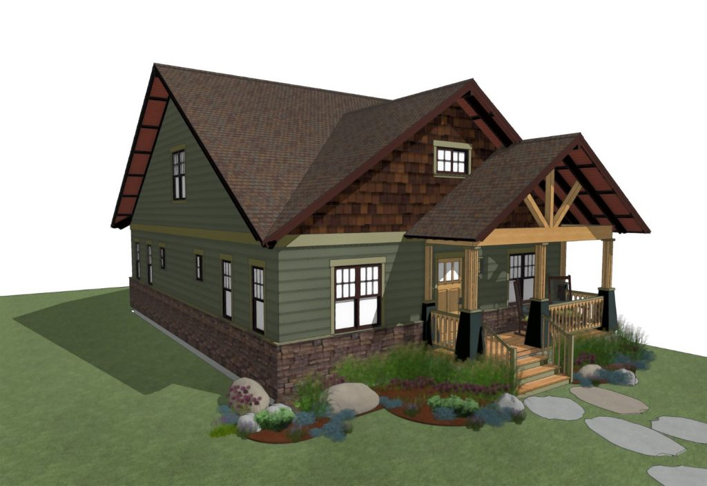 Craftsman home design with front porch and gable roof lines.