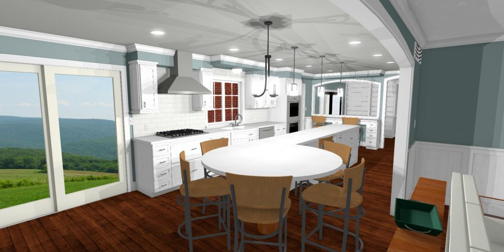 Kitchen design with a large round eat at island, white cabinets, crown molding and gas range.