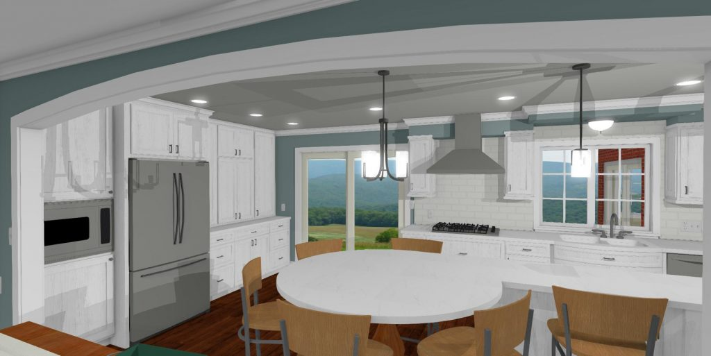 Kitchen design with a large round eat at island, white cabinets, crown molding and large arched doorway leading to the living room.
