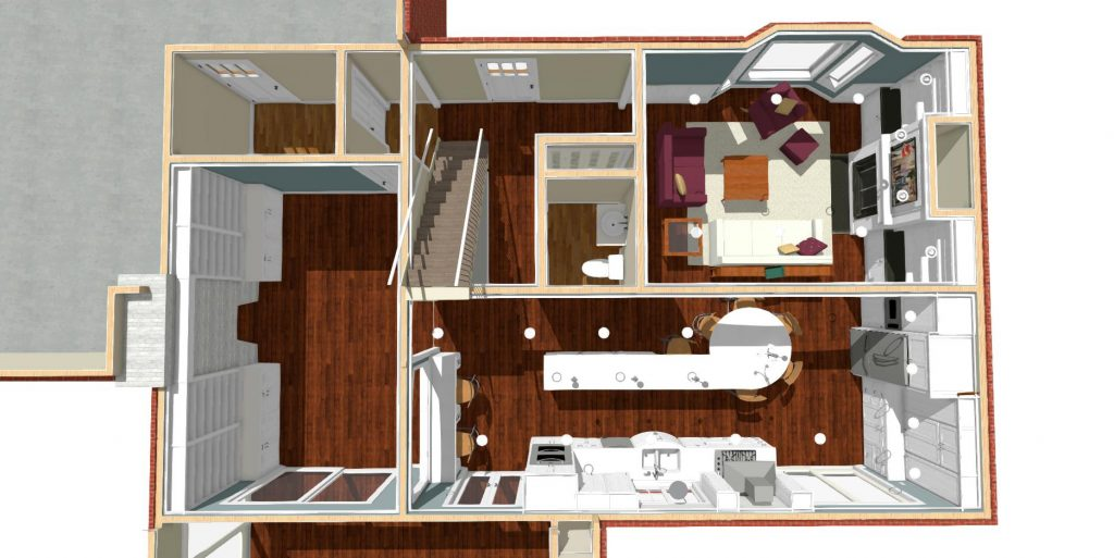 Dollhouse view of a residential home design that features a large kitchen, family room and library.
