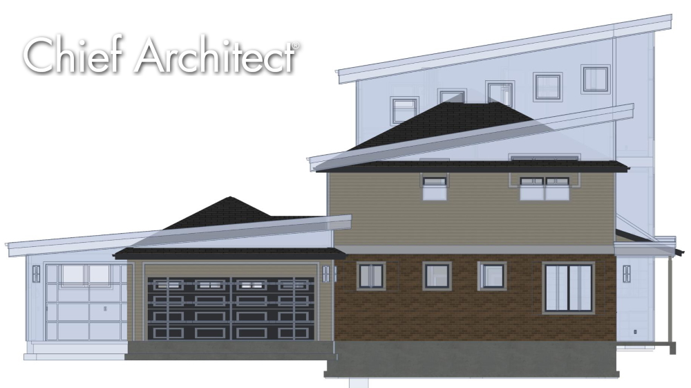 Elevation view showing the as-built and the remodel.