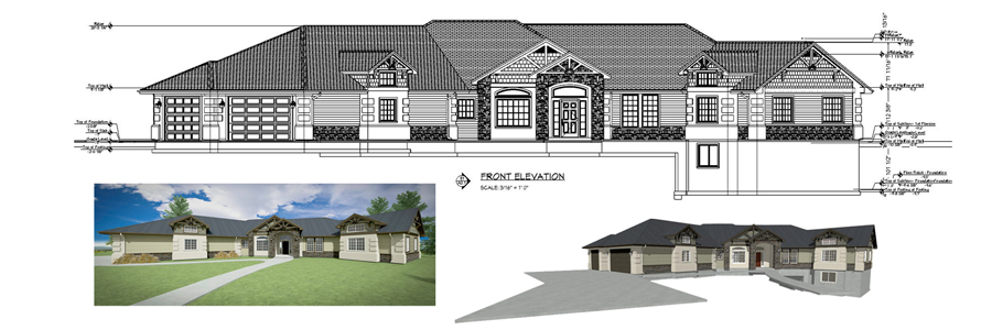 Front elevation view and renderings of a single story home design.