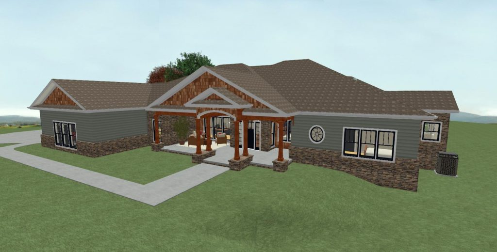 Residential home design with large covered entry, shingle siding and a pony wall with stacked stone.