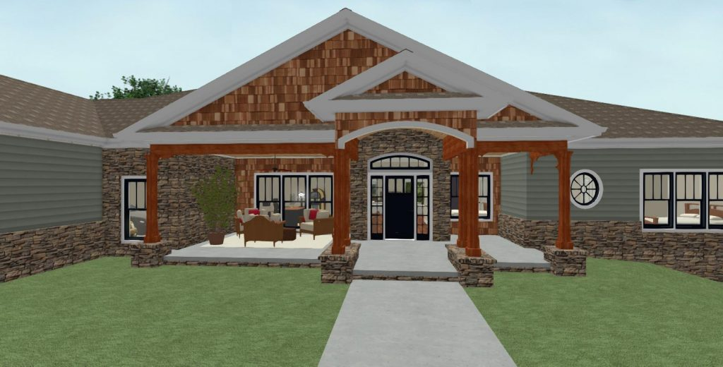 Large covered entryway with a patio area for outdoor living.