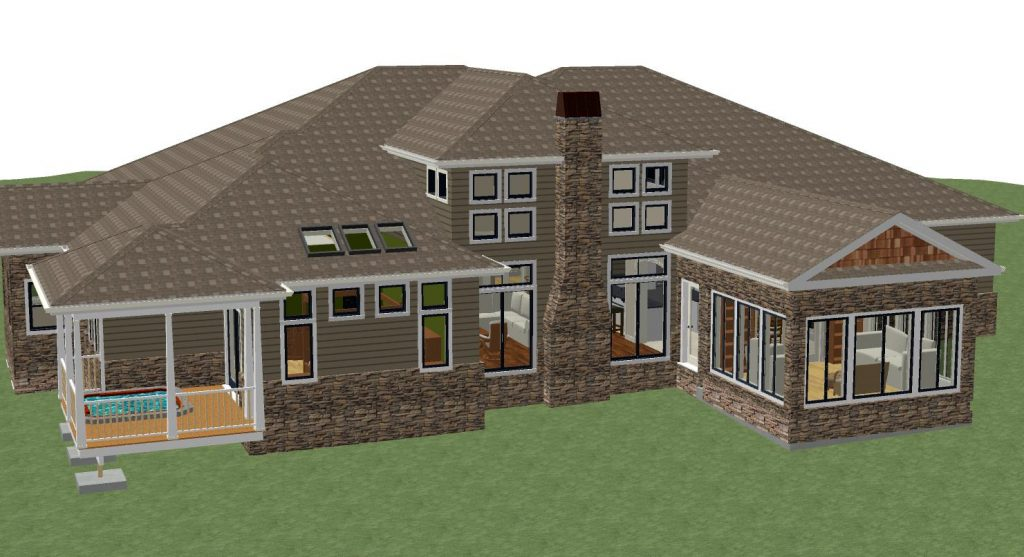 Residential home design with a covered porch with Jacuzzi, large windows and skylights and a stacked stone chimney.