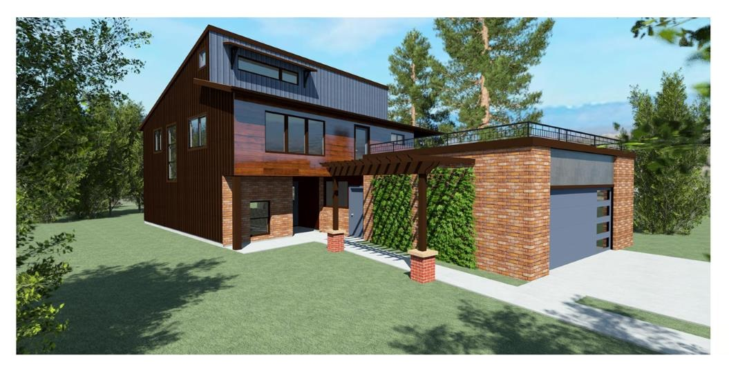 Modern home design with metal and brick siding, roof top patio, and two car garage.
